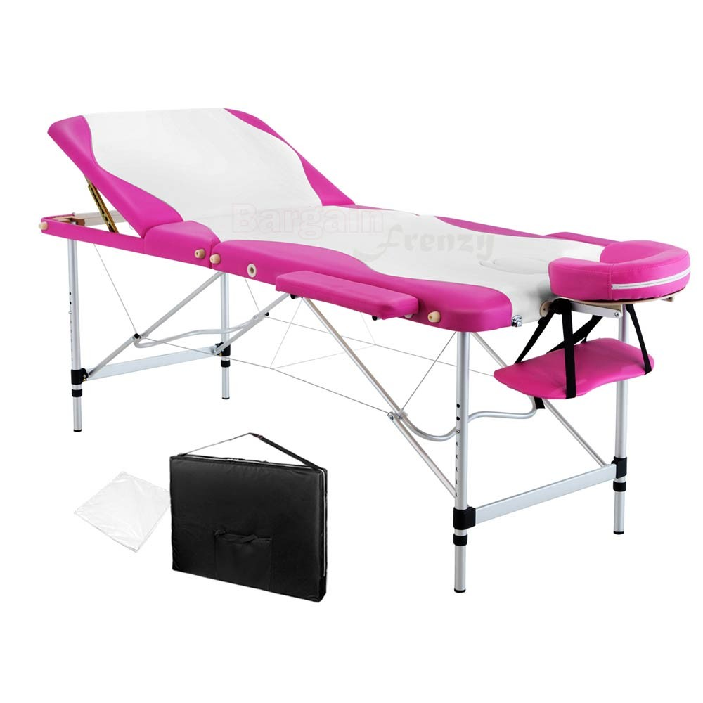 Awe Inspiring Portable Aluminium 3 Fold Massage Table Chair Bed White Pink Creativecarmelina Interior Chair Design Creativecarmelinacom